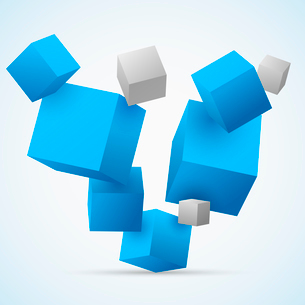 Abstract 3d flying cubes background vector illustrationのイラスト素材 [FYI03091369]