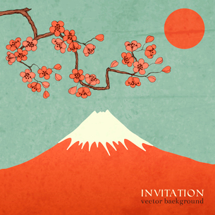 Blossom cherry or sakura mountain invitation postcard vector illustrationのイラスト素材 [FYI03091372]
