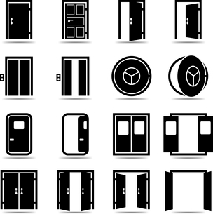 Open and closed doors icons set isolated vector illustrationのイラスト素材 [FYI03091373]
