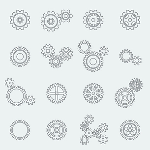 Cogs wheels and gears pictograms set for website design isolated vector illustrationのイラスト素材 [FYI03091375]