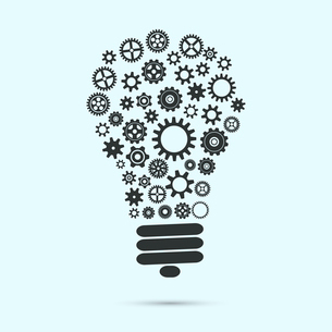 Mechanical light bulb with gears and cogs innovation concept isolated vector illustrationのイラスト素材 [FYI03091378]