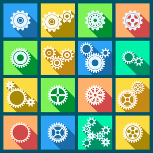 Collection of flat cogs wheels and gears icons set isolated vector illustrationのイラスト素材 [FYI03091379]