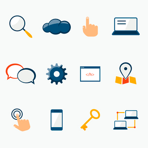 Internet marketing services icons set for website and social media contents isolated vector illustraのイラスト素材 [FYI03091384]