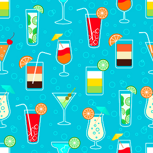 Seamless pattern background with alcohol cocktail drinks of martini margarita tequila vodka vector iのイラスト素材 [FYI03091390]