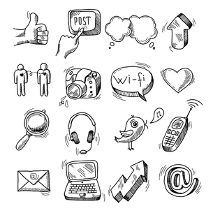 Doodle social icons set of network blogger media marketing isolated vector illustrationのイラスト素材 [FYI03091391]