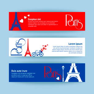 Collection of banners and ribbons with Paris landmark buildings isolated vector illustrationのイラスト素材 [FYI03091392]
