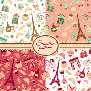 Collection of seamless patterns with Paris landmarks and France symbols vector illustrationのイラスト素材 [FYI03091393]