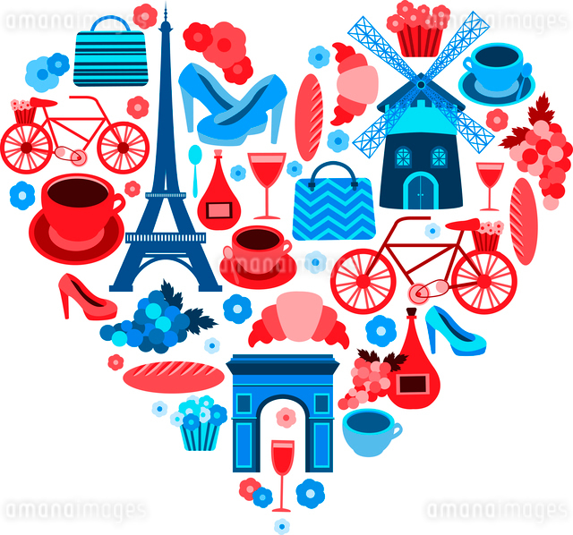 Love Paris heart symbol with icons set isolated vector illustrationのイラスト素材 [FYI03091394]