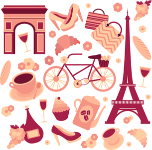 Paris symbols collection of eiffel tower french croissant coffee and culture isolated vector illustrのイラスト素材 [FYI03091396]