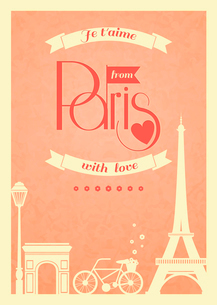 Love Paris vintage retro poster with eiffel tower and bike vector illustrationのイラスト素材 [FYI03091399]