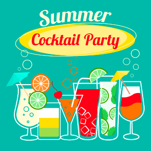 Summer cocktails party banner invitation flyer card template vector illustrationのイラスト素材 [FYI03091401]