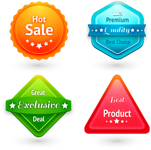 Collection of sale labels stickers or tags for best price high quality and exclusive deal isolated vのイラスト素材 [FYI03091402]
