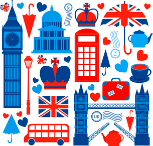 London symbols collection of tower bridge big ben and telephone booth culture isolated vector illustのイラスト素材 [FYI03091403]