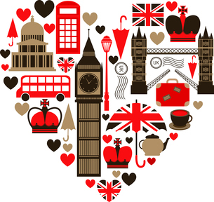 Love London heart symbol with icons set isolated vector illustrationのイラスト素材 [FYI03091405]