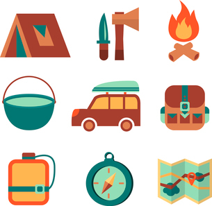 Outdoors tourism camping flat icons set of campfire tent backpack tools and map isolated vector illuのイラスト素材 [FYI03091406]
