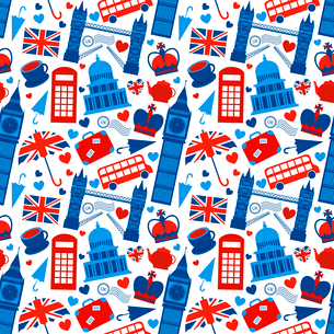 Seamless pattern background with London landmarks and Britain symbols vector illustrationのイラスト素材 [FYI03091408]