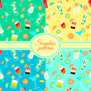 Collection of seamless patterns with alcohol cocktail drinks of martini margarita tequila vodka vectのイラスト素材 [FYI03091411]