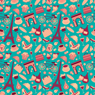 Seamless pattern background with Paris landmarks and France symbols vector illustrationのイラスト素材 [FYI03091413]