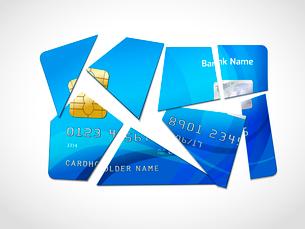 Broken credit card default debt bankruptcy symbol isolated vector illustrationのイラスト素材 [FYI03091418]