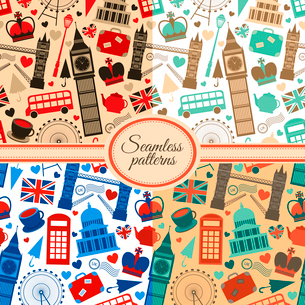 Collection of seamless patterns with London landmarks and Britain symbols vector illustrationのイラスト素材 [FYI03091419]