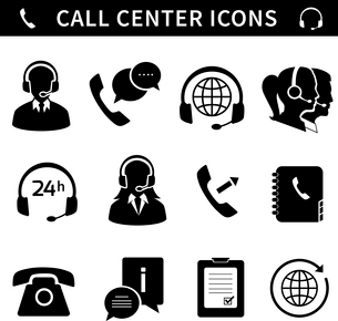 Call center service icons set of customer care phone assistance and headset isolated vector illustraのイラスト素材 [FYI03091423]