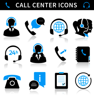 Call center service icons set of contacts mobile phone and communication isolated vector illustratioのイラスト素材 [FYI03091428]