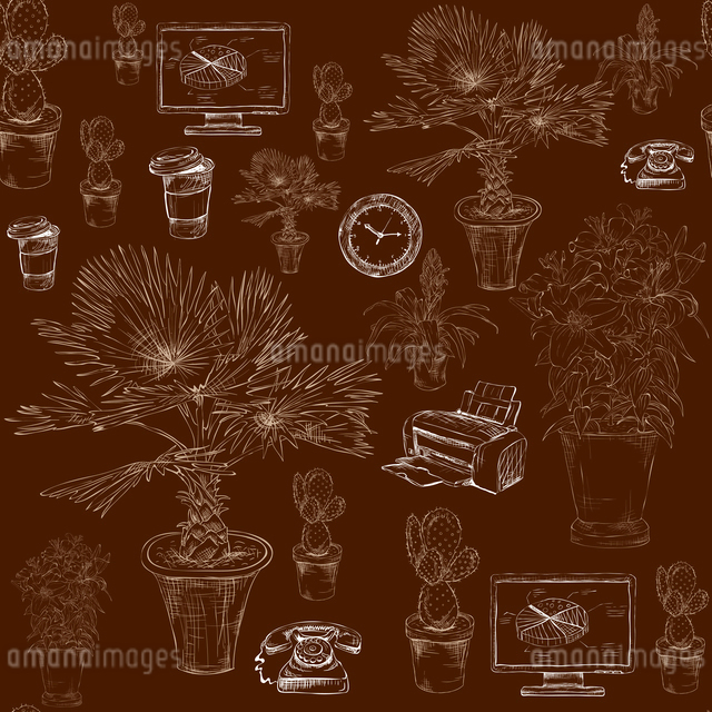 Seamless business office stationery supplies with decorative flowers and palms pattern background skのイラスト素材 [FYI03091435]