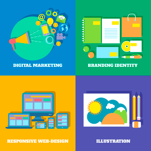 Icons set of digital marketing branding identity responsive web design vector illustrationのイラスト素材 [FYI03091438]