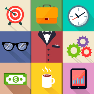 Business suits, Icons set of target with arrow briefcase clock cogs and gears vector illustrationのイラスト素材 [FYI03091446]