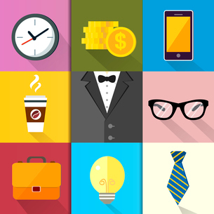 Business suits, Icons set of coffee glasses lightbulb coins and mobile phone vector illustrationのイラスト素材 [FYI03091447]