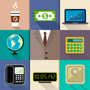 Business decorative items and office accessories with suit dollar notebook globe calculator phone clのイラスト素材 [FYI03091451]