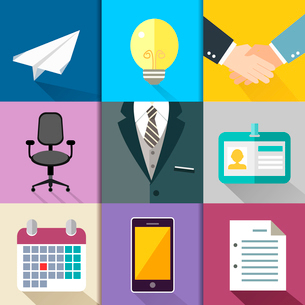 Business suits icons set with bulb handshake chair mobile phone vector illustrationのイラスト素材 [FYI03091452]