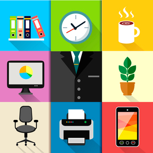 Business suits web design elements with laptop mobile phone printer clock and paper folders vector iのイラスト素材 [FYI03091453]