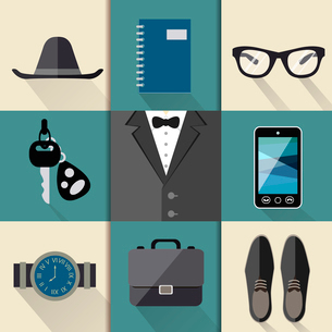 Gentleman business suit web design elements with watches hat glasses shoes and mobile phone foldersのイラスト素材 [FYI03091454]
