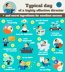 Business life executive chief officer director schedule typical workday from dusk till down infograpのイラスト素材 [FYI03091456]