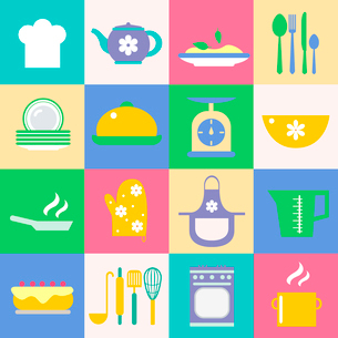 Cuisine and kitchen chef hat tea pot meal dish icons set vector illustrationのイラスト素材 [FYI03091457]