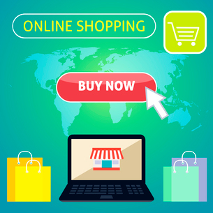 Online shopping concept design with notebook and buy now button on world map background vector illusのイラスト素材 [FYI03091466]