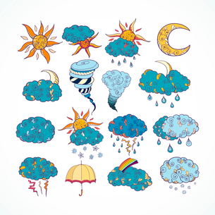 Doodle weather forecast color decorative design elements collection isolated vector illustrationのイラスト素材 [FYI03091472]