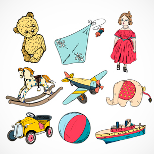 Decorative children toys sketch icons set of steamship kite rocking horse ball isolated vector illusのイラスト素材 [FYI03091477]