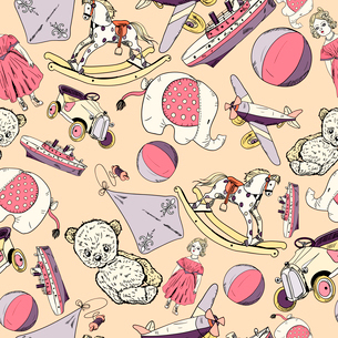 Antique baby toys sketch seamless pattern of teddy bear car doll kite vector illustration.のイラスト素材 [FYI03091478]