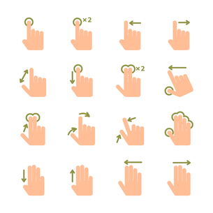 Touch screen hand gestures icons set of swipe pinch and tap isolated vector illustrationのイラスト素材 [FYI03091487]