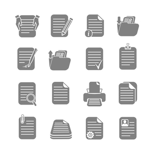 Documents folders and files written or printed  icons set isolated vector illustrationのイラスト素材 [FYI03091488]