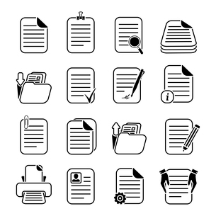 Documents paper and files written or printed icons set isolated vector illustrationのイラスト素材 [FYI03091490]