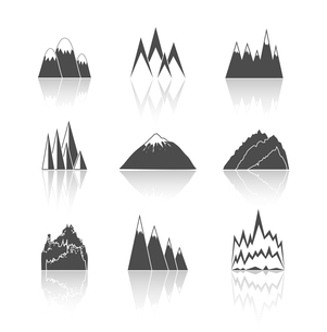 A collection of snowy mountains peaks outlines pictograms icons set vector illustrationのイラスト素材 [FYI03091493]