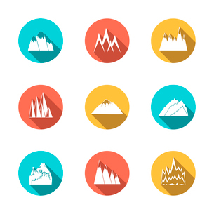 A collection of snowy mountains peaks outlines pictograms icons in circles set flat vector illustratのイラスト素材 [FYI03091494]