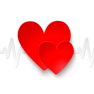 Heart rate red paper emblem icon or print vector illustrationのイラスト素材 [FYI03091495]