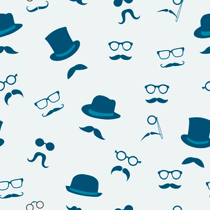 Seamless doodle accessories of mustache hats and glasses pattern background vector illustrationのイラスト素材 [FYI03091499]