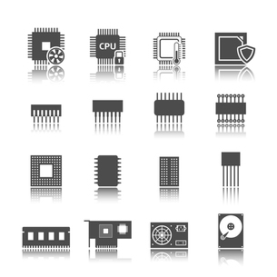 Electronic technology devices computer circuits black icons set isolated vector illustrationのイラスト素材 [FYI03091500]