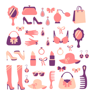 Woman fashion stylish casual shopping accessory collection isolated vector illustrationのイラスト素材 [FYI03091501]