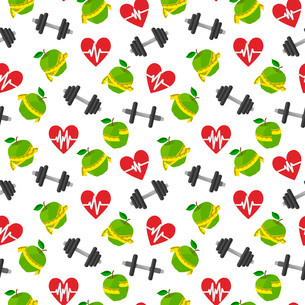 Seamless fitness healthy lifestyle pattern background with heart apple barbells vector illustrationのイラスト素材 [FYI03091502]